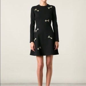 CARVEN Gold Arrow Fit + Flare Dress